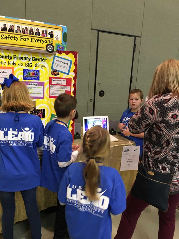 Adair County Primary Center presents their project to visitors at the Regional STLP Showcase